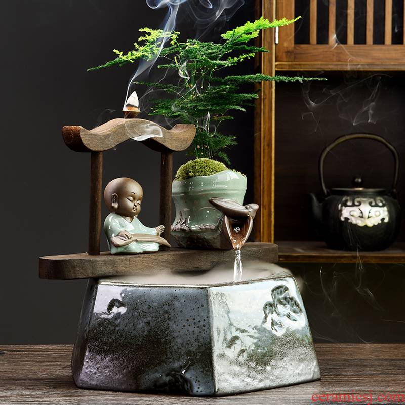 Zen new Chinese style water fountain humidifier feng shui plutus desktop furnishing articles creative household ceramics hydroponic flower pot