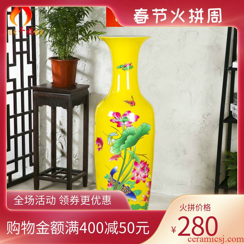Jingdezhen ceramics vase Chinese red lotus landing big fish for years more than decoration to the hotel living room big furnishing articles
