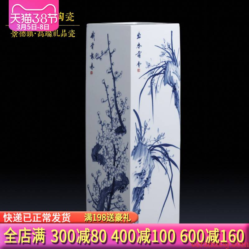 Jingdezhen blue and white by patterns of hand - made ceramics of large vases, flower arranging and calligraphy scrolls cylinder furnishing articles