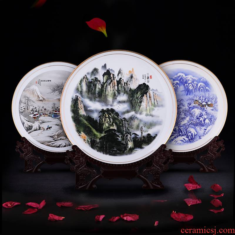 Jingdezhen ceramics furnishing articles hanging dish ipads porcelain decoration plate sit plate of Chinese style living room home decoration arts and crafts