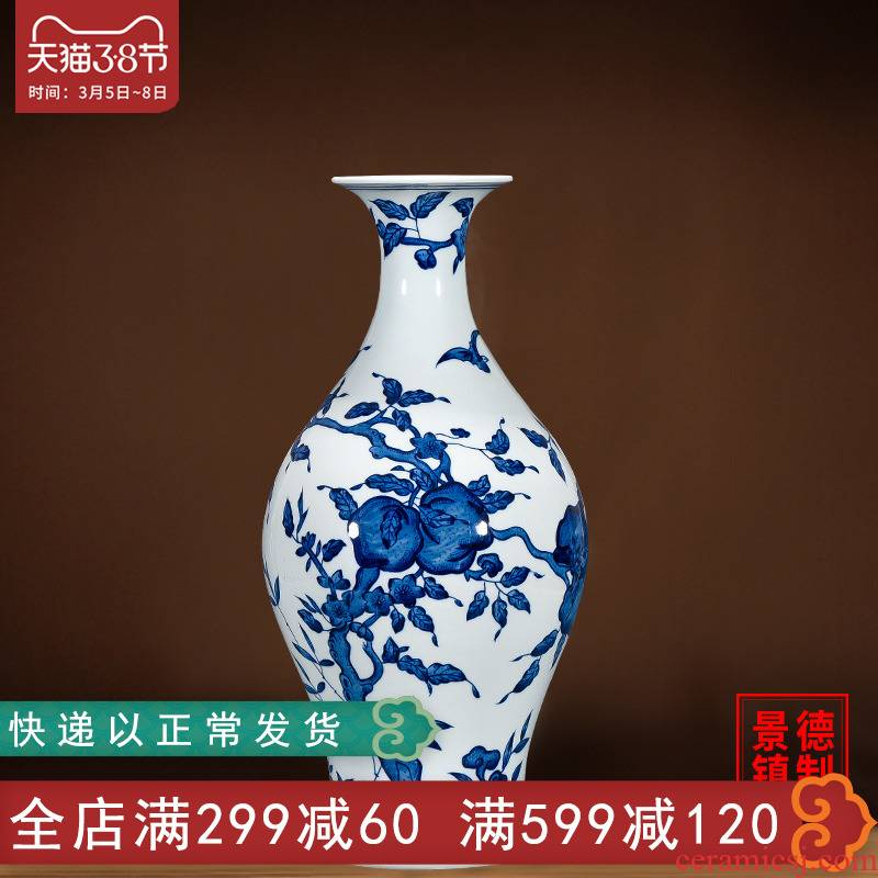 Jingdezhen blue and white porcelain hand - made vases furnishing articles of Chinese ceramics archaize sitting room flower arrangement home wine accessories