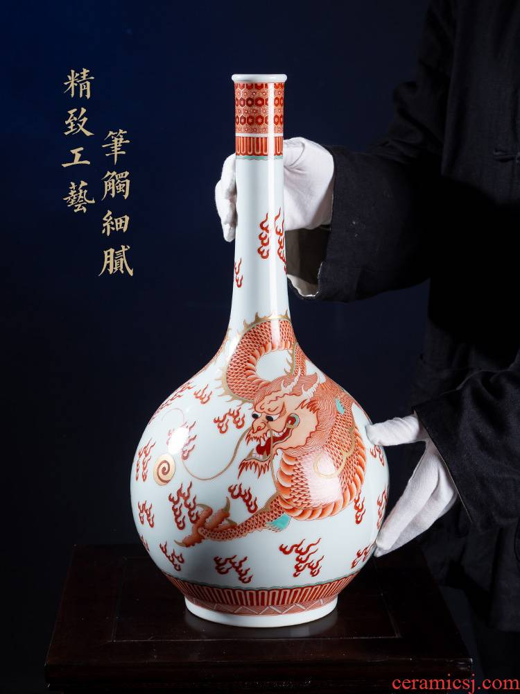 Jia lage jingdezhen ceramic furnishing articles YangShiQi alum red paint of the reign of emperor kangxi and name dragon gall bladder Chinese vase