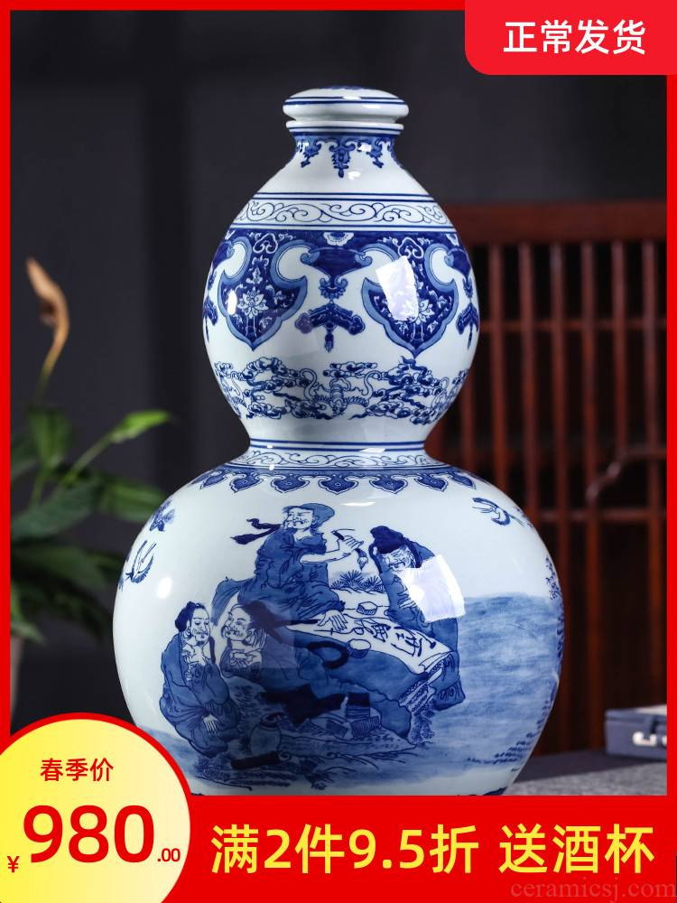 Jingdezhen ceramic jars 20 jins hand - made mercifully wine bottle wine seal of blue and white porcelain jar of creative hip furnishing articles