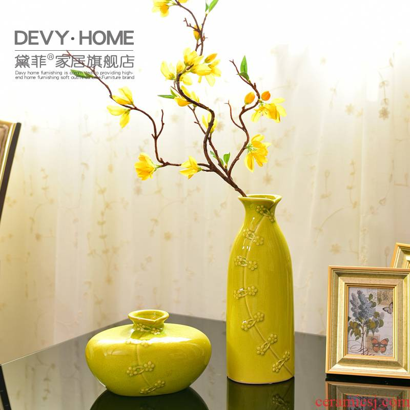 New Chinese style ceramic vase living room table simulation flowers, dried flowers, flower arrangement, household decorates porch TV ark, furnishing articles