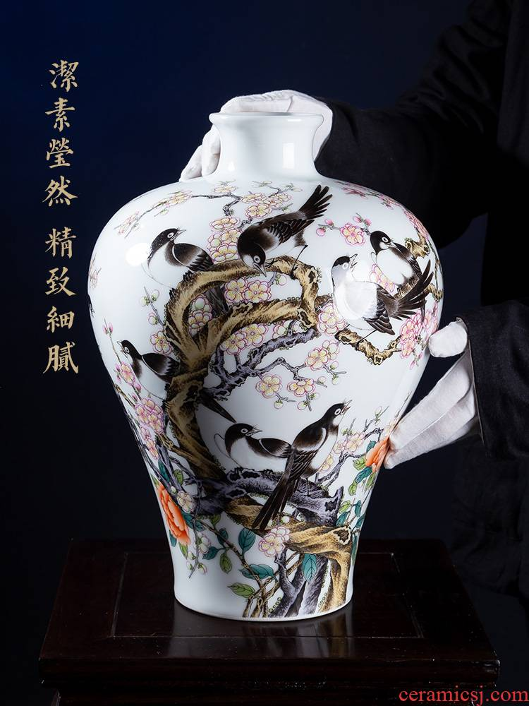 Jia lage jingdezhen ceramic vase YangShiQi pastel and name the magpies MeiWenMei bottles of ancient China