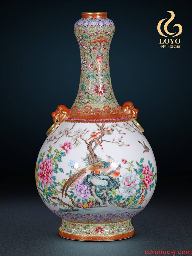 Archaize of jingdezhen ceramic vase pastel heavy industry of flowers and birds ears garlic bottles of home sitting room adornment is placed