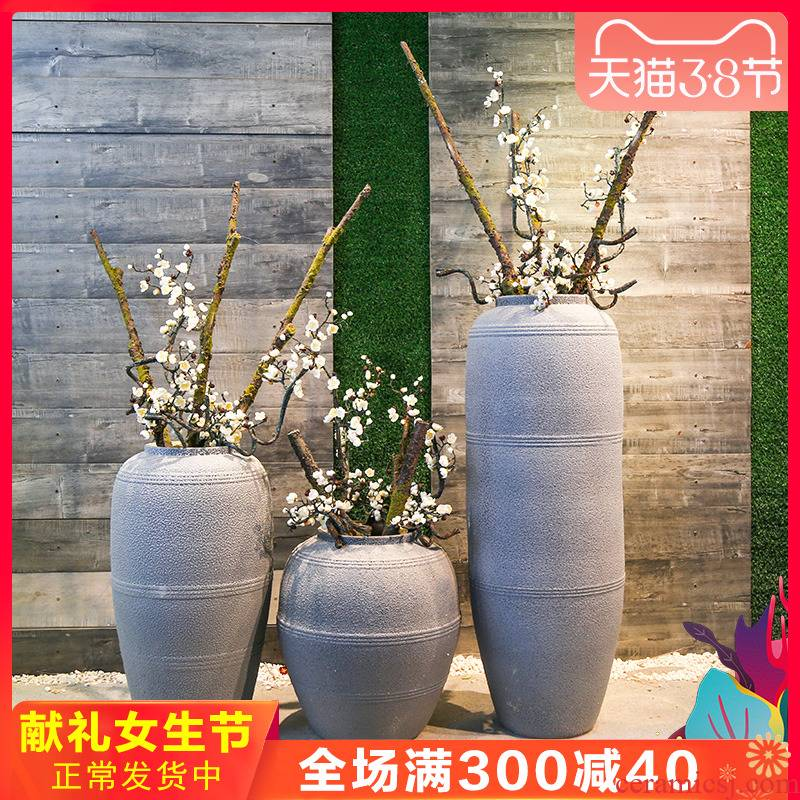 Jingdezhen ceramic vase retro nostalgia of large sitting room the hotel home decor simulation flower arranging flowers