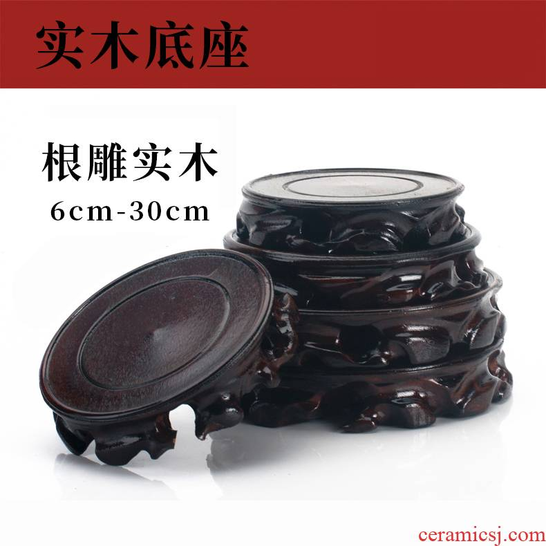 The whole piece of solid wood carved round jade antiques are it tank tea vases, flower miniascape of base