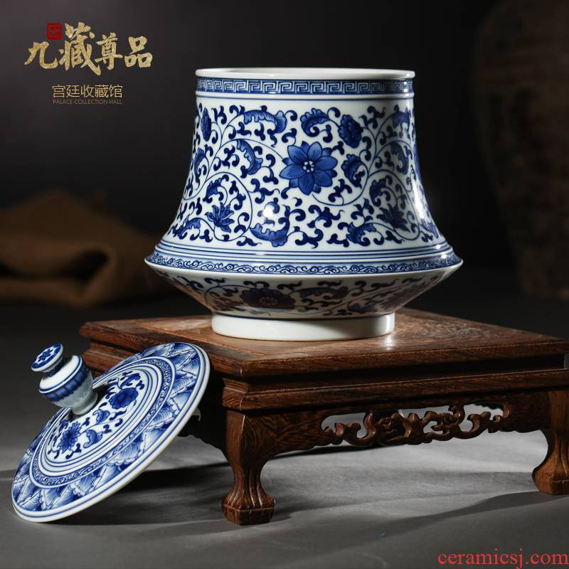 Antique hand - made porcelain of jingdezhen ceramics bound lotus flower tea pot flowers large flower pot cover can treasure phase furnishing articles
