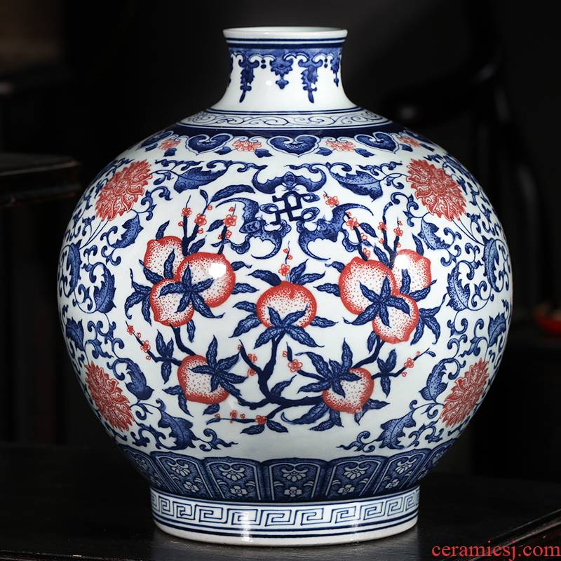 Jingdezhen ceramics hand - made antique blue and white porcelain vases, flower arranging new classical Chinese style household decorations furnishing articles