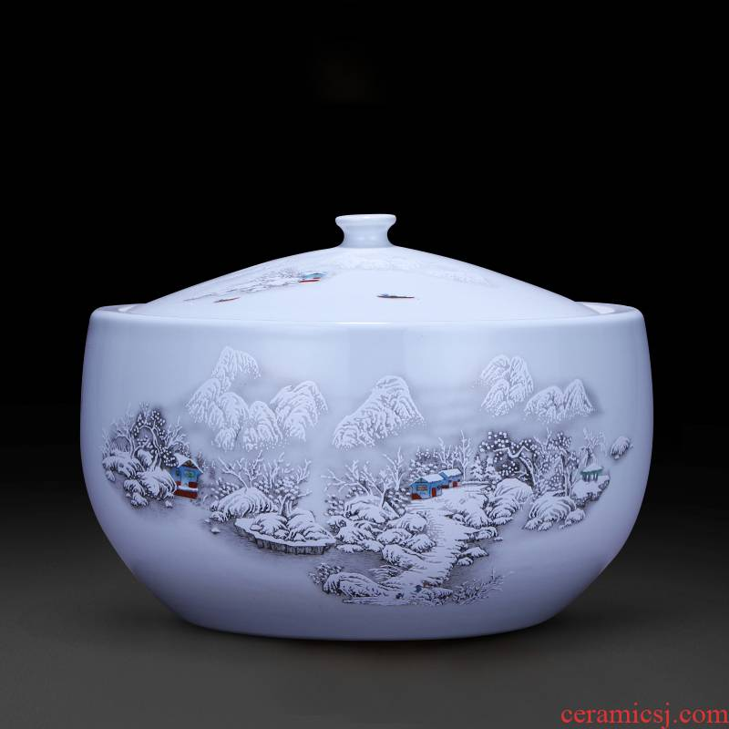 Jingdezhen ceramics furnishing articles storage tank with cover Chinese medicine pot dish of rice, cooking pot caddy fixings barrel 5 jins