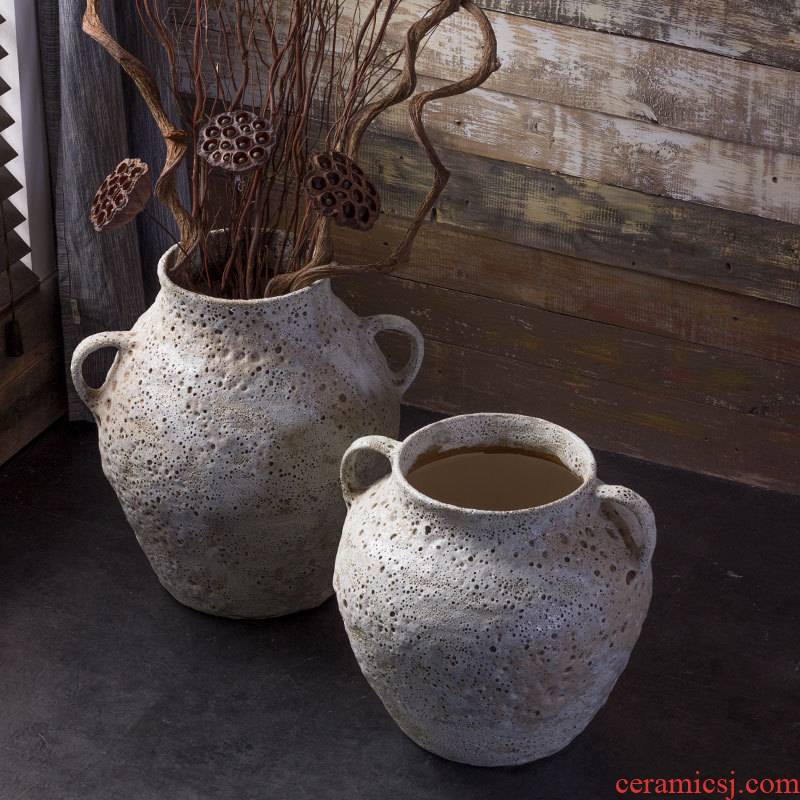 Jingdezhen manual coarse pottery big POTS retro black zen Chinese ceramic vase household soft adornment furnishing articles