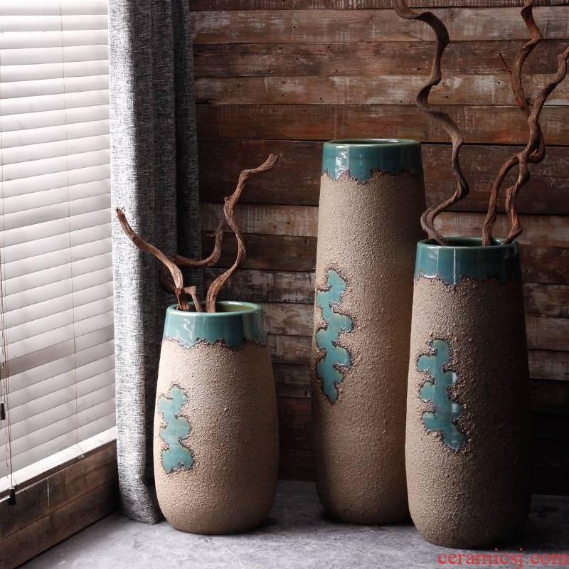 Large ceramic floor vase flower arrangement sitting room creative furnishing articles American European household adornment courtyard garden flowerpot
