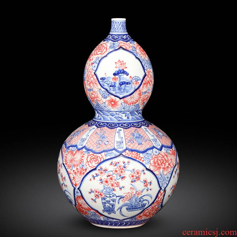 Imitation of qianlong hand - made porcelain of jingdezhen ceramics youligong gourd sweet vase classic Chinese style decoration and furnishing articles