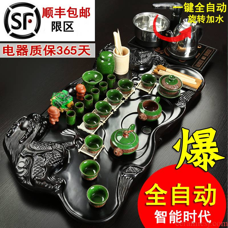 Porcelain constant hall of a complete set of automatic purple ceramic ice crack kung fu tea set four unity of household contracted ground