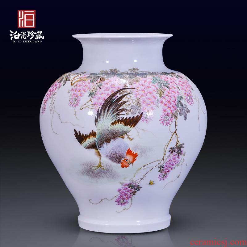 Jingdezhen ceramics hand - made pastel dried flower vase household living room home TV ark type adornment furnishing articles