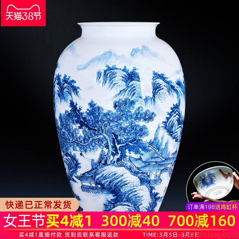 Jingdezhen ceramics hand - made large blue and white porcelain vase flower arranging furnishing articles of Chinese style living room home decoration decoration
