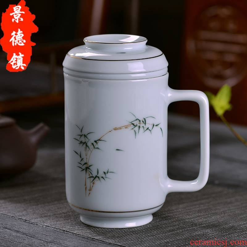 Jingdezhen celadon teacup) office make tea cups with cover cup tea separation ceramic household contracted tea cups