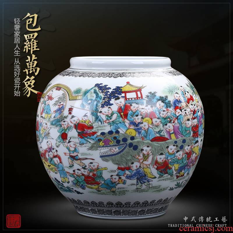 Jingdezhen ceramics archaize storage tank by the ancient philosophers figure vase large Chinese style living room TV ark adornment furnishing articles
