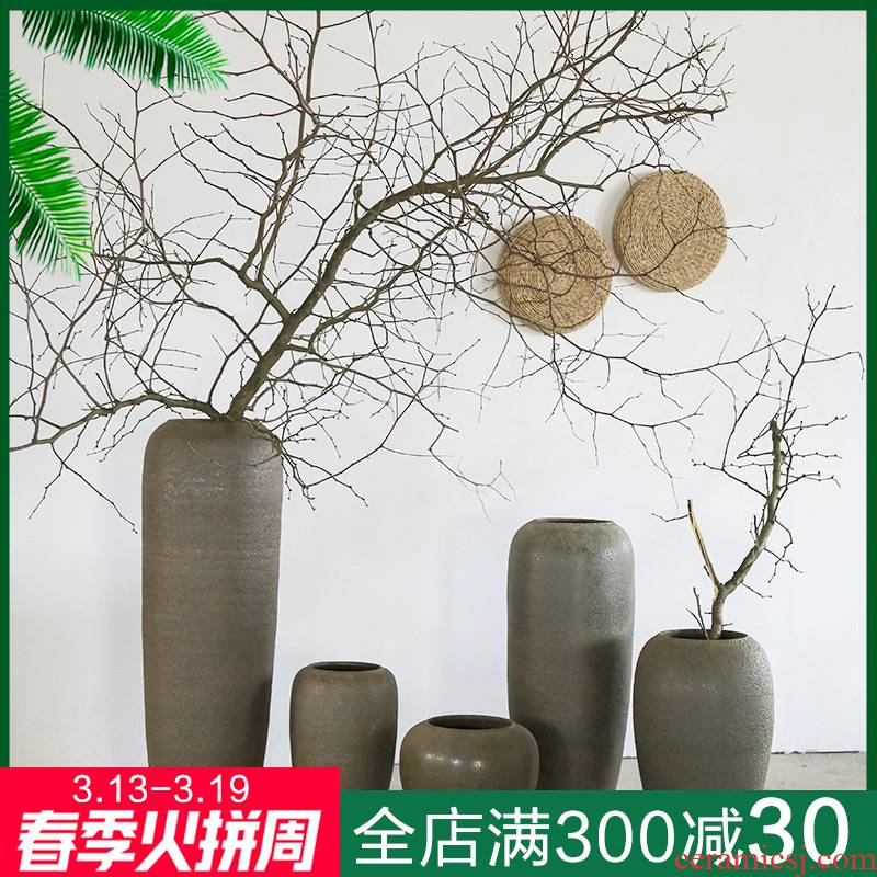 Jingdezhen retro nostalgia coarse pottery vase restaurant garden decoration big flower flower implement club big sitting room furnishing articles