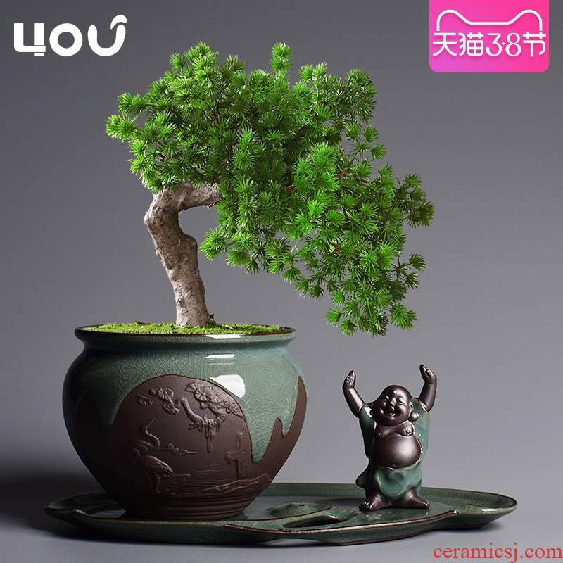 Elder brother up POTS ceramic Chinese wind creative combination bonsai home green plant pot large plant pot