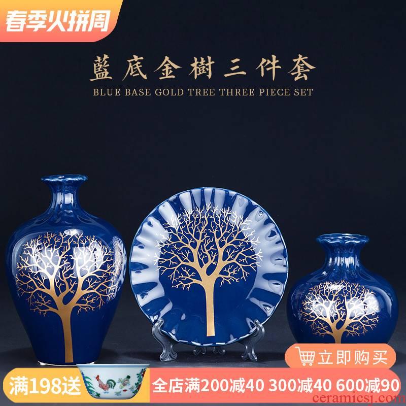 Jingdezhen ceramics glaze blue three - piece vase of modern Chinese style living room TV ark, furnishing articles home decoration