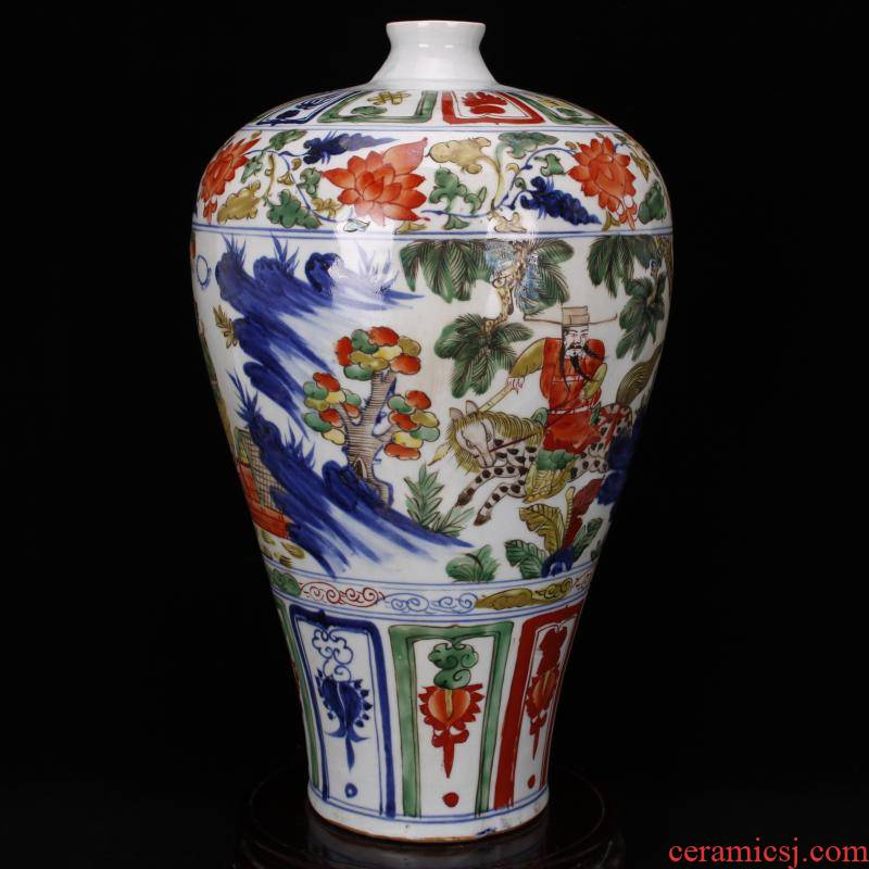 Jingdezhen RMB imitation antique curios colorful up chasing Han Xinwen mei bottles of vintage ceramic decoration old collections
