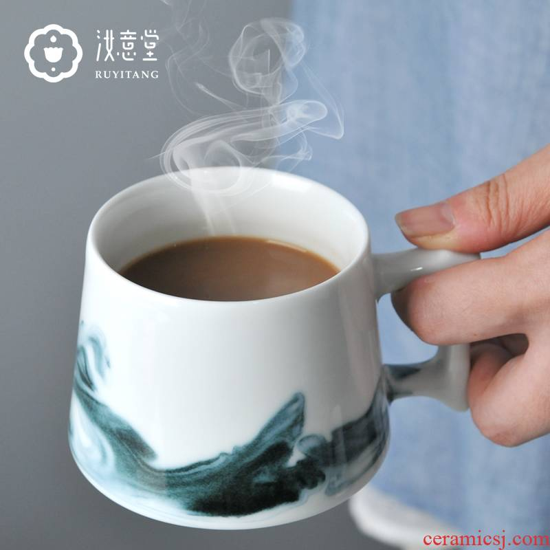 Jingdezhen ceramic mugs white porcelain creative ultimately responds a cup of coffee cup Chinese ink painting afternoon tea cup small tea cups