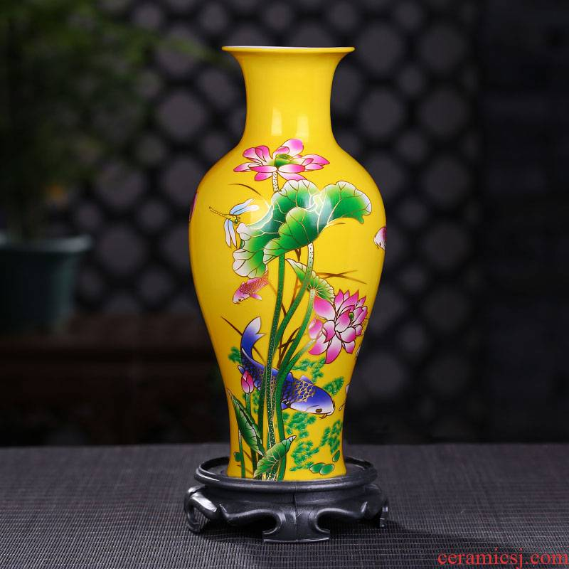 Jingdezhen ceramic vases, pastel yellow lotus fishtail bottles of modern ceramic decoration furnishing articles vase