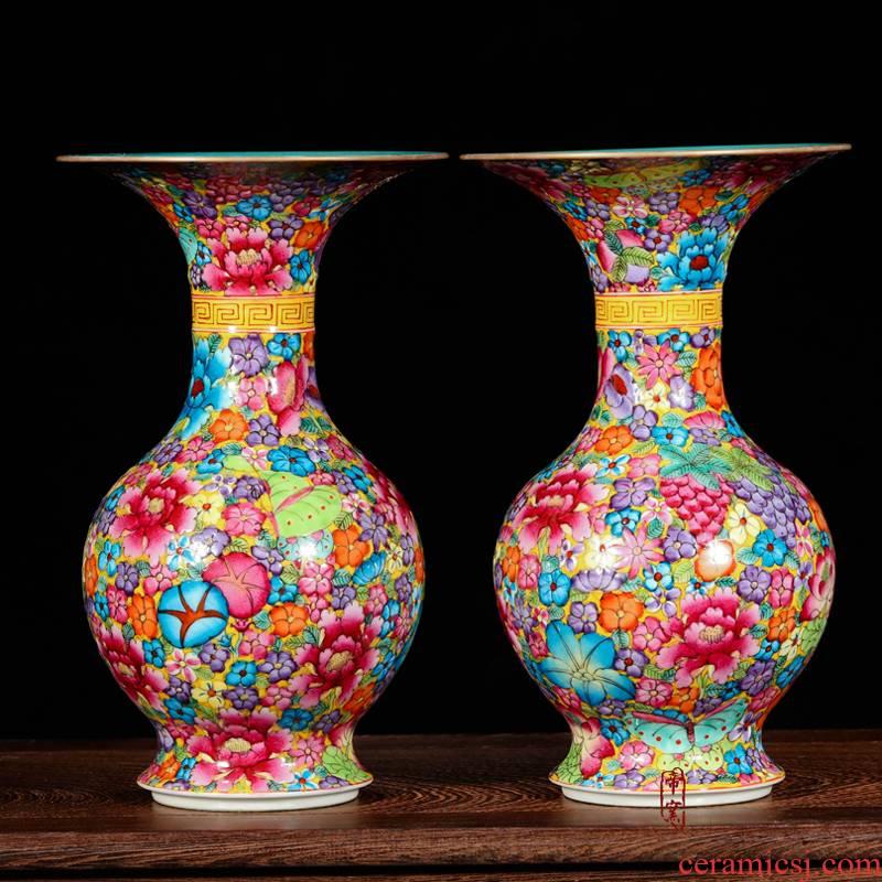 Jingdezhen ceramics from floret bottle antique hand - made fine flower is colored enamel, black mushroom classical furnishing articles ornaments