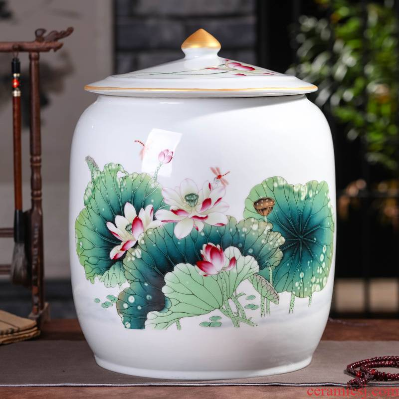 Jingdezhen ceramic bread seven pu 'er tea box store receives large household tea, green tea powder POTS moistureproof tea warehouse