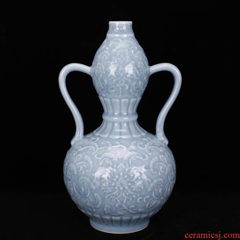 Jingdezhen imitation of the yongzheng emperor qianlong antique antique shadow blue glaze carving Chinese vase household adornment restoring ancient ways furnishing articles