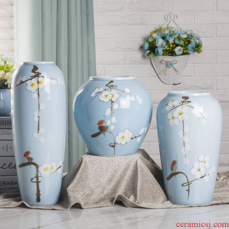 Ceramic vase three - piece furnishing articles of modern Chinese style living room TV cabinet flower arranging creative household adornment ornament