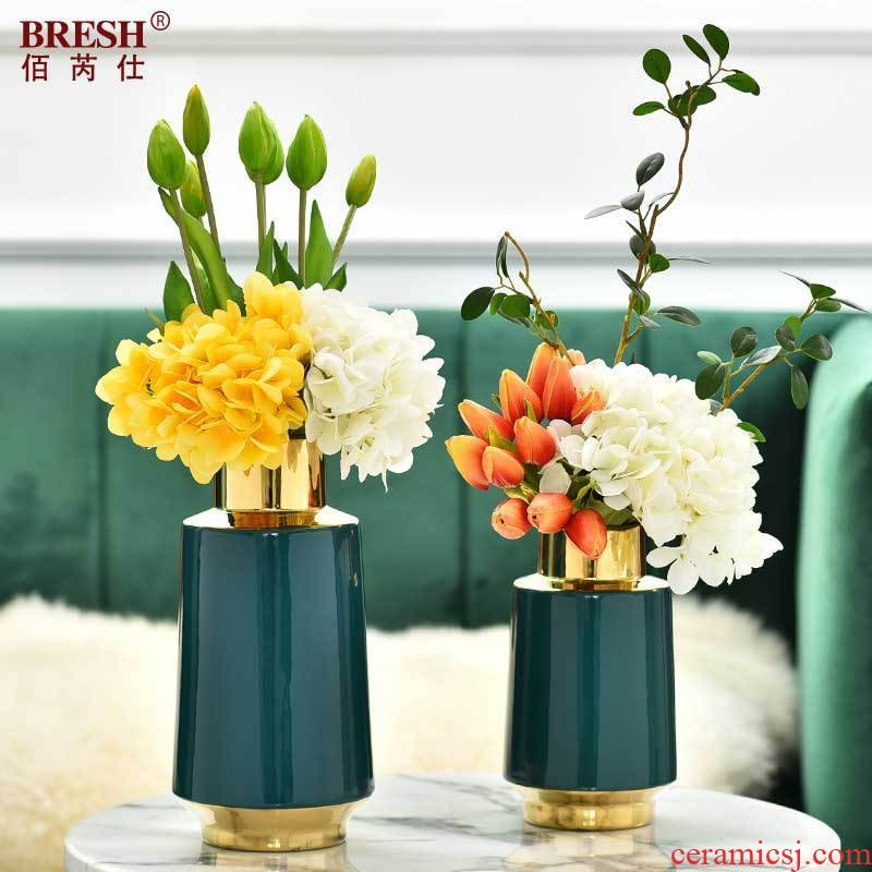 Light key-2 luxury decorative furnishing articles contracted sitting room TV cabinet vase ceramic household act the role ofing is tasted H1074 blackish green storage tank