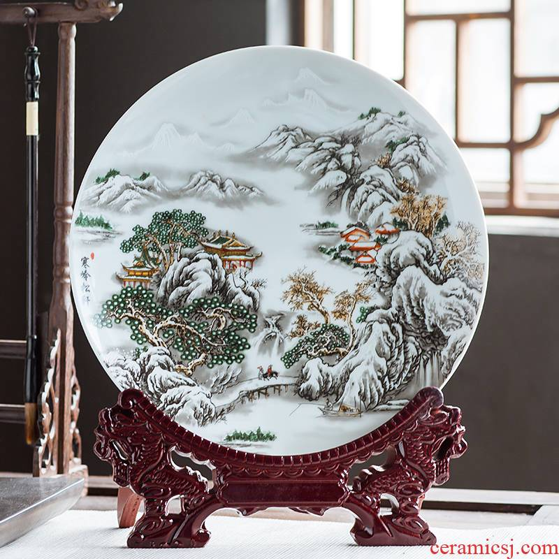 Jingdezhen ceramics furnishing articles household adornment hang dish Chinese wine sitting room porch decorate dish