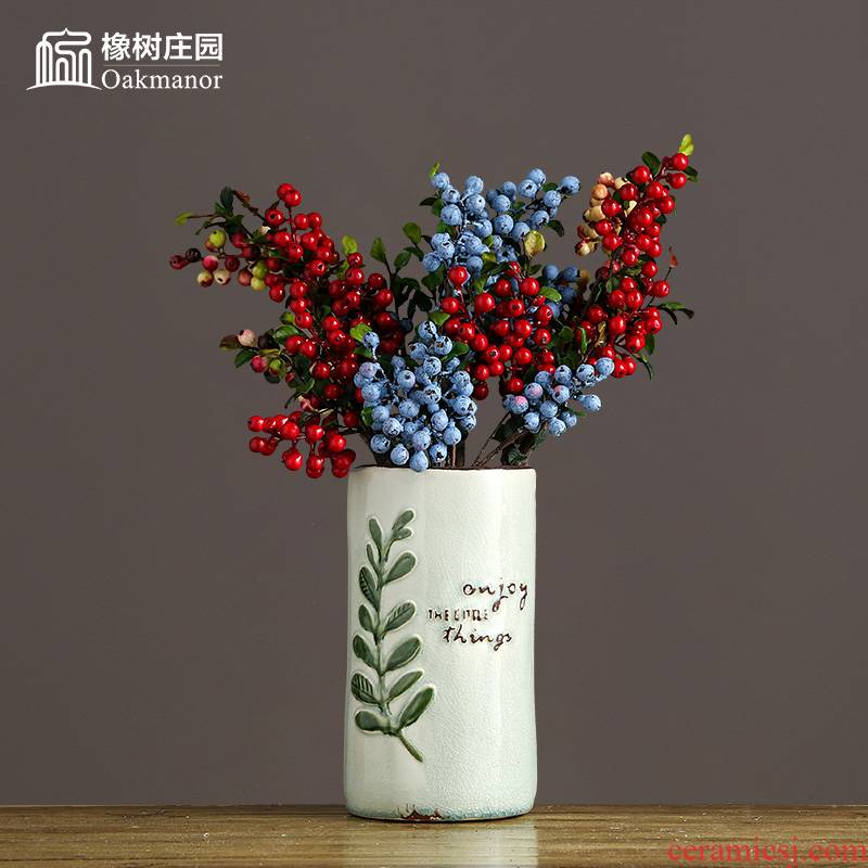 The Nordic idea Holly ceramic vases, flower arranging dried flowers furnishing articles home American living room table small pure and fresh and decorations