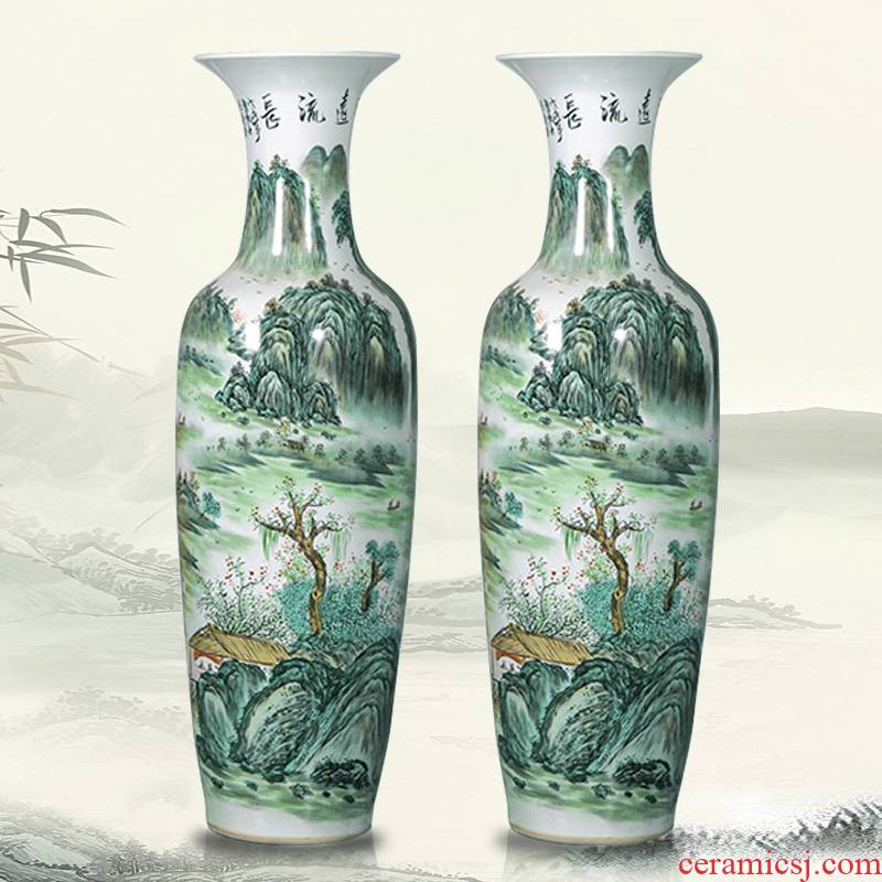 Jingdezhen porcelain has a long history in the hand of large vases, Chinese style living room beside the hotel decoration TV ark, furnishing articles
