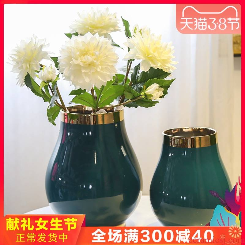 New Chinese style household example room ceramic vases, flower art suit furnishing articles sitting room porch Taiwan crispy noodles machine table decoration