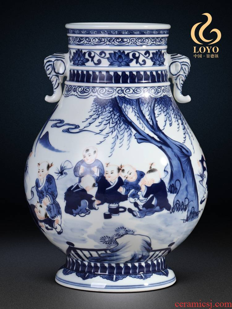 Jingdezhen ceramics antique hand - made lad f barrels of blue and white porcelain vase flower arranging the sitting room of Chinese style household furnishing articles