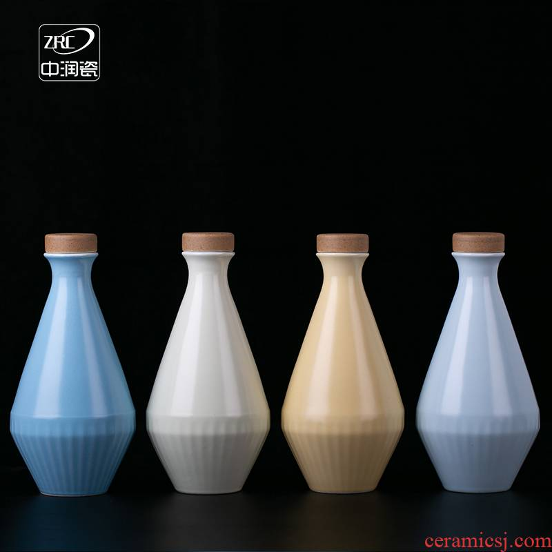 Jingdezhen ceramic bottle half jins to hip flask household ancient Japanese liquor with cover sealing small bottles of wine