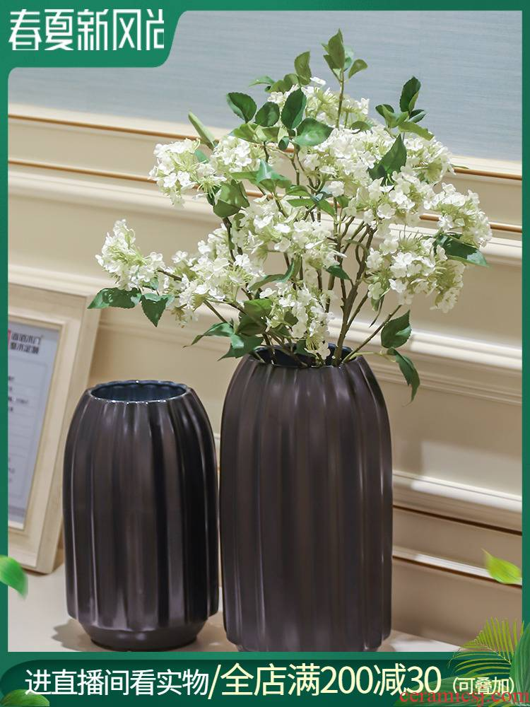 Creative light key-2 luxury black orange stripe convergent ceramic table simulation vase floral flower implement soft decoration