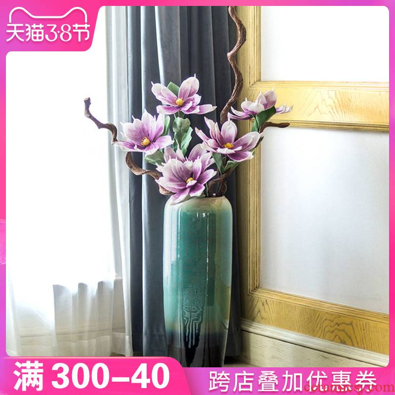New Chinese style porch ground vase furnishing articles large household ceramics flower arrangement sitting room decoration on both sides of Europe type TV ark