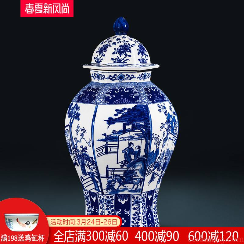 General jingdezhen blue and white porcelain pot vase furnishing articles archaize of new Chinese style is classic the sitting room porch rich ancient frame decoration