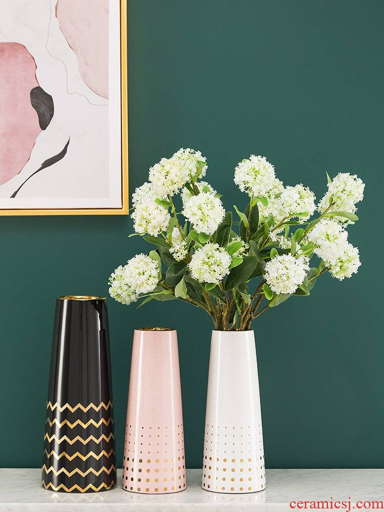 I and contracted light key-2 luxury furnishing articles between example stripe ceramic vases, boreal Europe style table dry flower flower arranging flowers