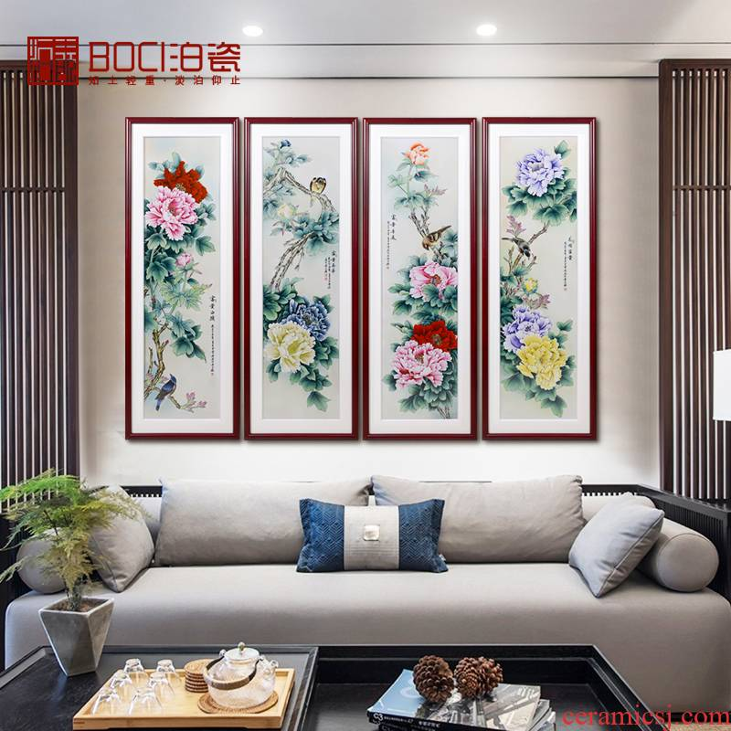 Jingdezhen ceramics hand - made blooming flowers porcelain plate painting Chinese background decoration mural painting in the sitting room porch