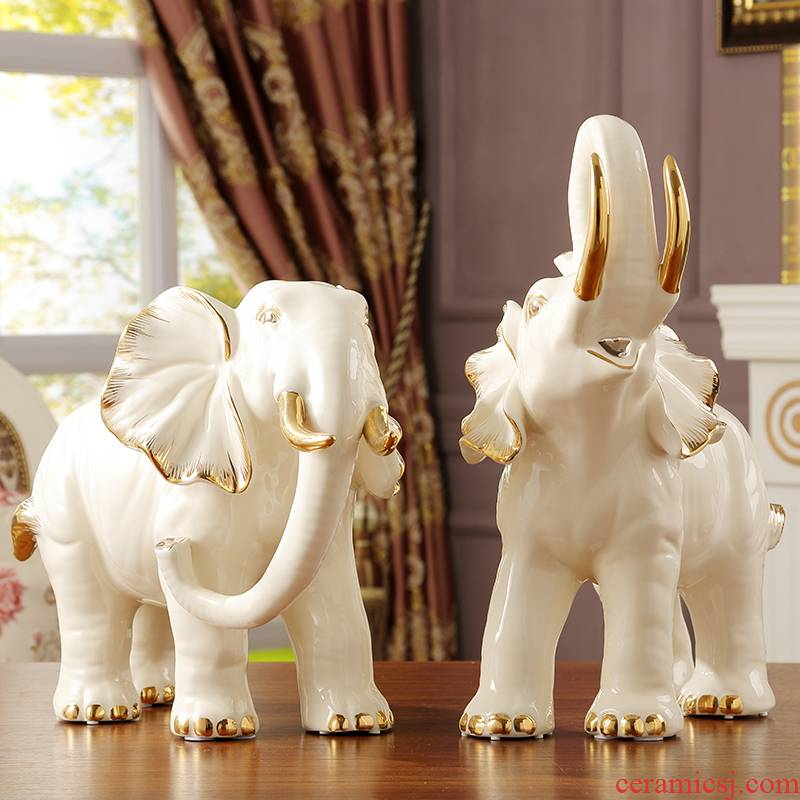 Key-2 Luxury European - style porch elephant furnishing articles large fortune sitting room TV ark, home decoration ceramic arts and crafts