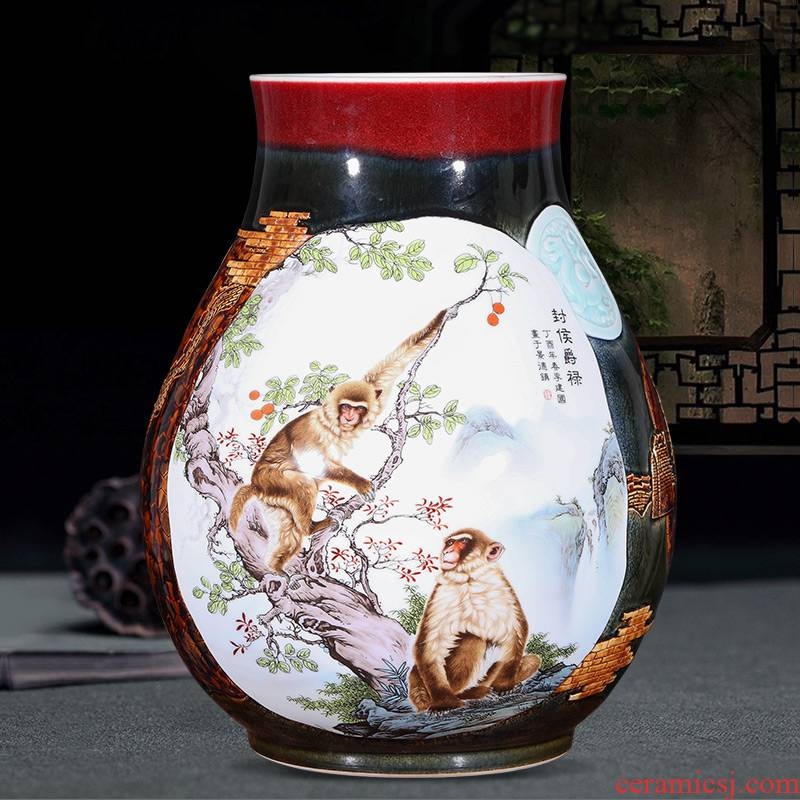 Jingdezhen ceramics creative manual relief of large vases, modern Chinese style living room decorations furnishing articles gifts