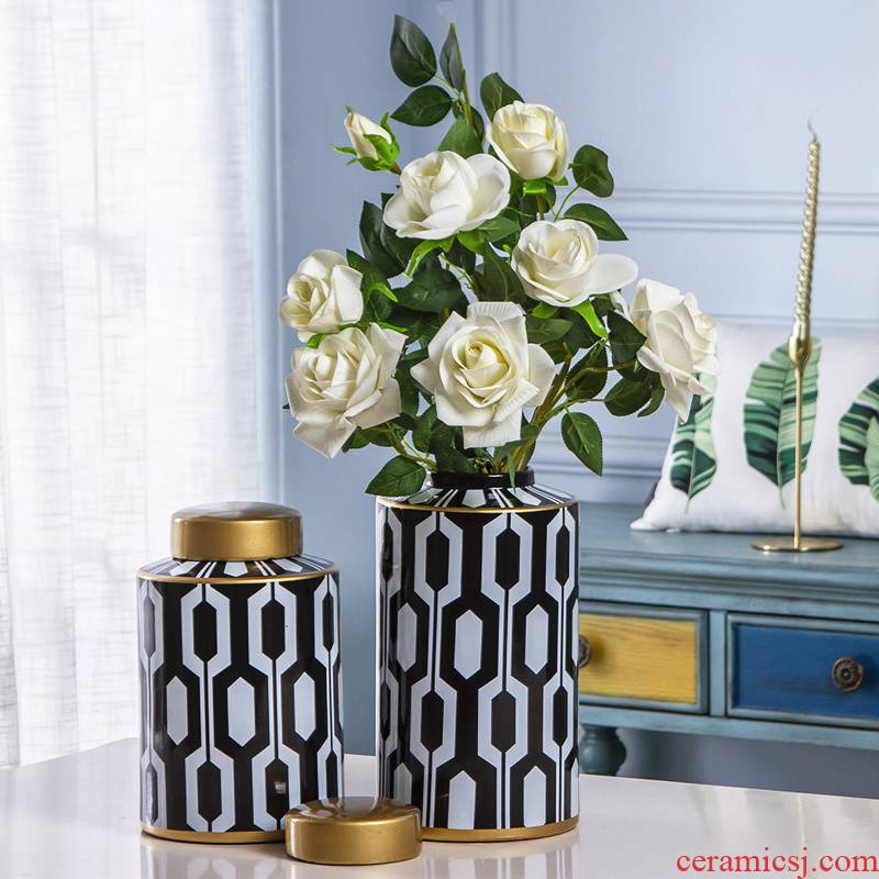American vase furnishing articles ceramic household dry flower arranging flowers sitting room light floral European - style key-2 luxury model between soft adornment ornament