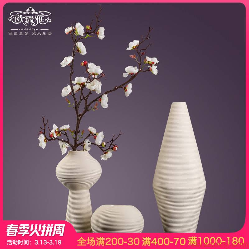 I and contracted ceramic household living room TV wine porch type dry flower arranging flowers white floret bottle furnishing articles