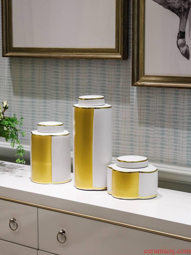 Jingdezhen European modern decoration light key-2 luxury furnishing articles TV ark, porch ceramic piggy bank study vase decoration